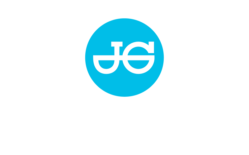 John Guest logo white text on blue background.