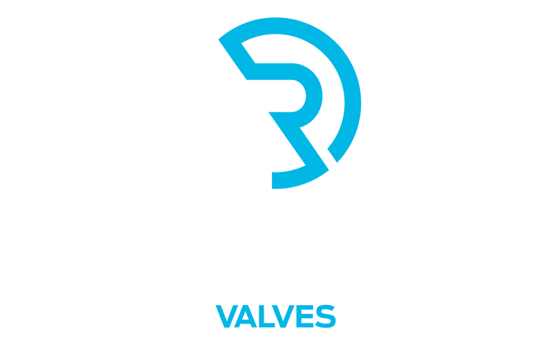 Reliance Valves logo white text on a blue background.