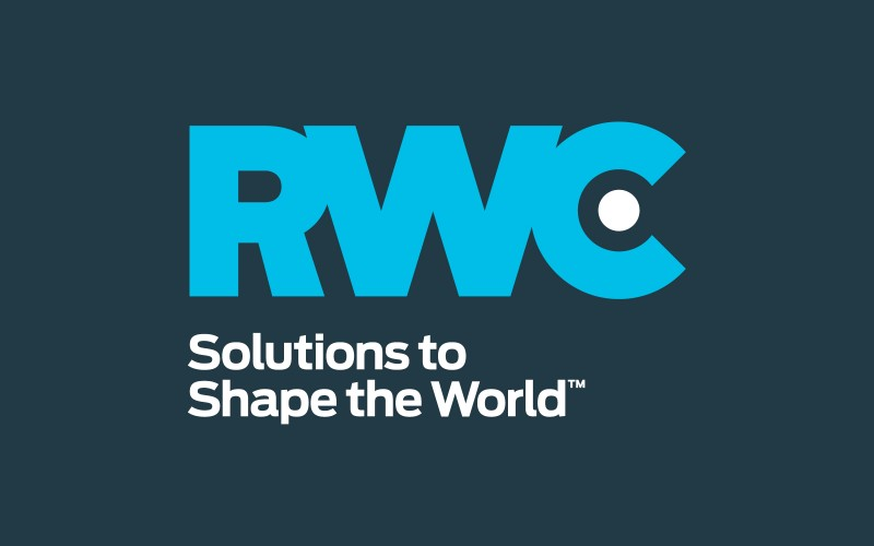 Blue RWC logo on dark blue background - Solutions to Shape the World.