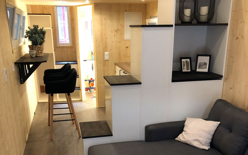 Interior shot of the living space in a Tiny House