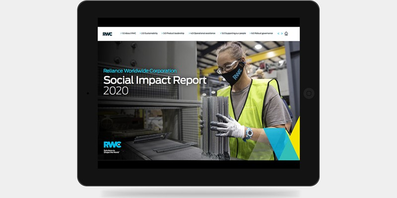 Social Impact Report 2020 mock up on iPad