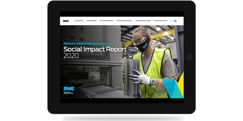 Social Impact Report 2020 on ipad white background